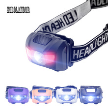 SOLOLANDOR Red 2 LEDs White 1 LED 3W XPE Mini Headlamp 4 Modes Waterproof Headlight Hunting Head Lamp AAA Torch Lantern Light sipids s10 1 led white 2 led red 2 mode headlamp black fluorescent green 3 x aaa