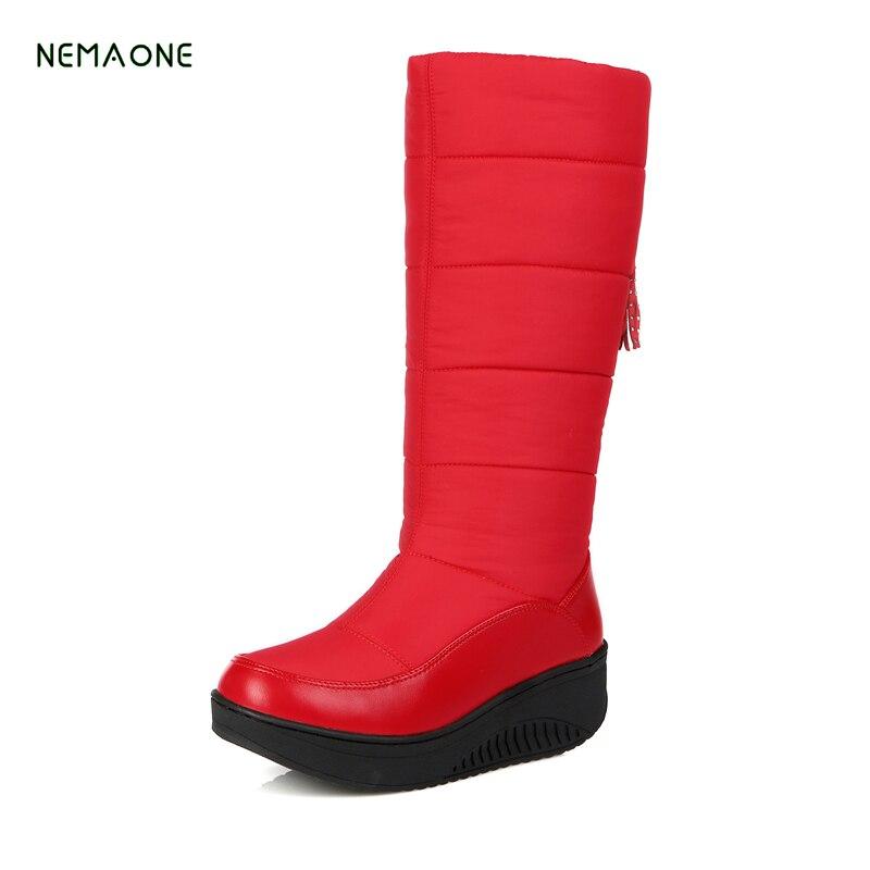 NEMAONE 2017 snow boots fashion platform fur cotton shoes wedges heels knee high boots w ...