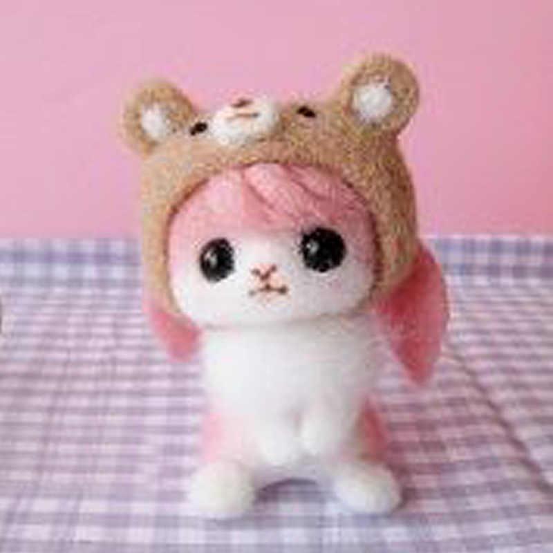 ¡Novedad de 2019! Juguete creativo de oso Panda, muñeco de gato, fieltro de lana, Material de fieltro de lana hecho a mano fácil y sin terminar