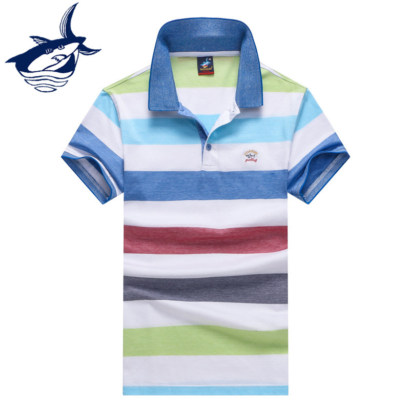 Fashion brand Tace & Shark   polos   para hombre cotton breathable short sleeve casual striped   polo   shirt men yachting royal club