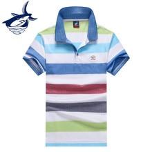 Moda marca Tace   Shark polos hombre parágrafos algodão respirável de manga  curta casuais camisa pólo listrada homens yachting . e7613a2767d07