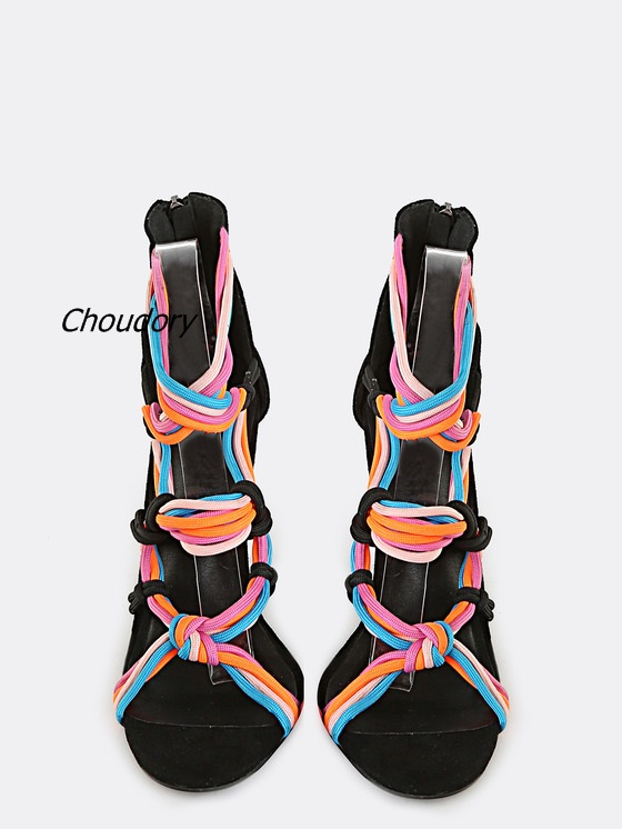 цена на Newest Style Rome Design Rope Thin Heel Gladiator Sandal Neon Strappy Stiletto Heel Sandals Cross Strap Casual Street Lady Shoes