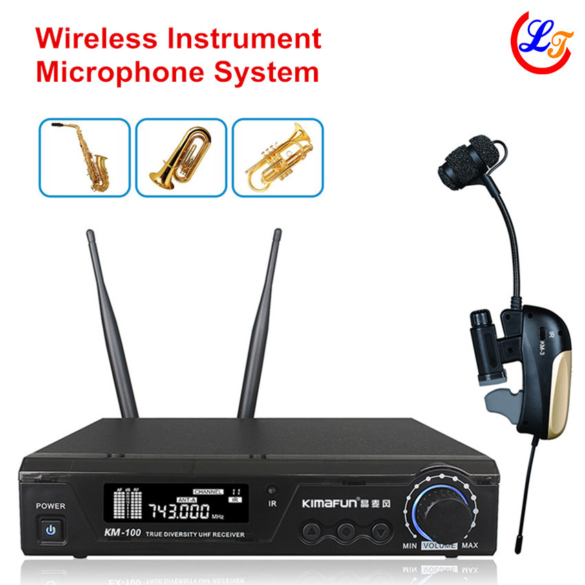 Professional UHF Wireless Instrument Saxophone Tuba Trumpet Microphone Lapel Transmitter with Receiver Max 100m Music Microfone  professional lapel music instrument microfone double bass microphone lapeal for shure wireless system xlr mini microphones