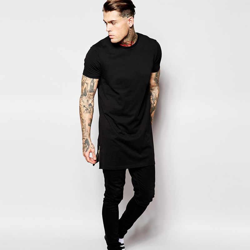 2017 Streetwear Merek Pakaian Pria T Shirt Hip Hop Zipper Split T-shirt Panjang Atasan Pria Lengan Pendek tees Tinggi BMTX06