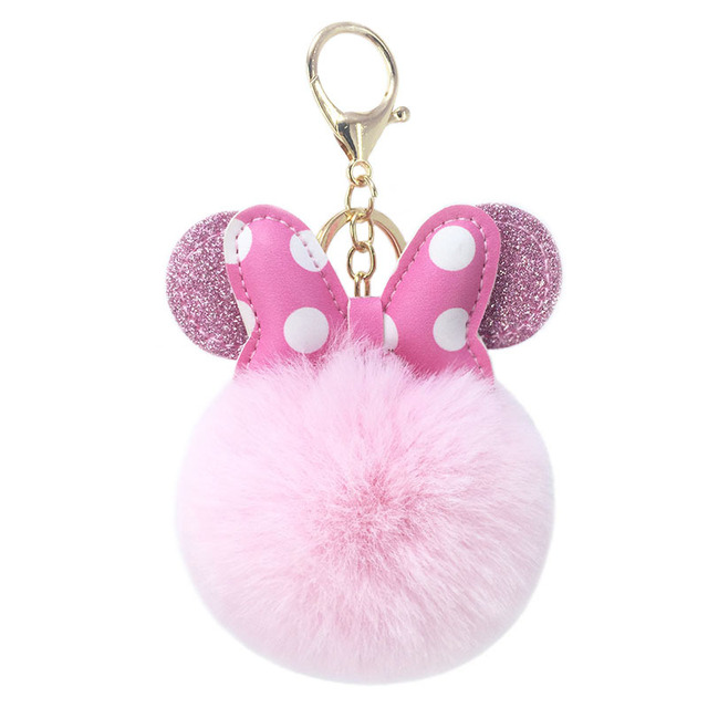 2019 Cute Mickey Pink KeyChain Plush Toy Pendant Women Fluffy Fur Pom Pom  Keyring Bag Hang 5f682acfd
