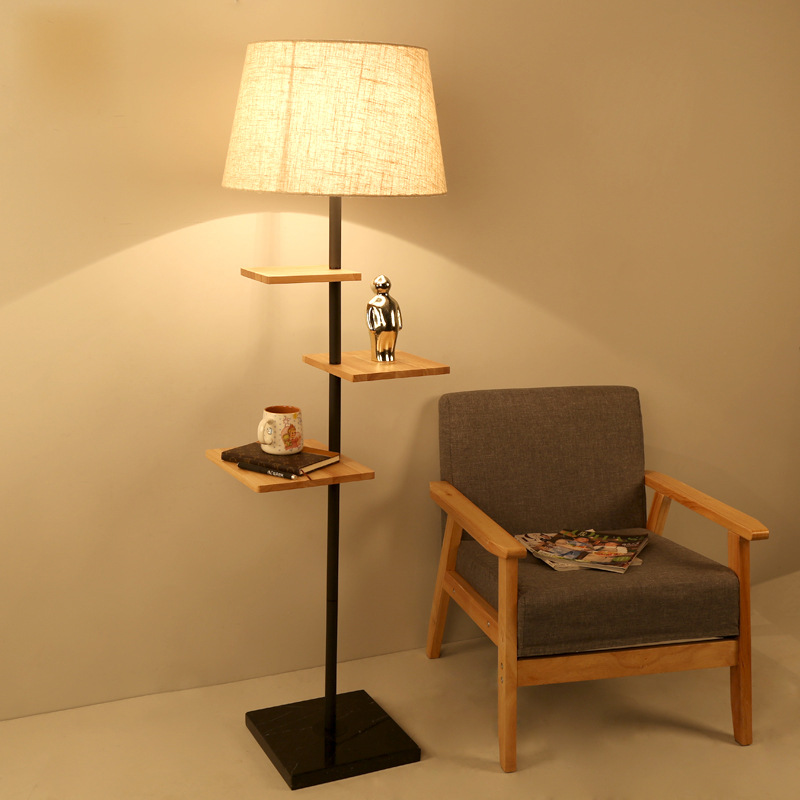 Modern Nordic Original Wood Fabric Led E27 Floor Lamp With ...