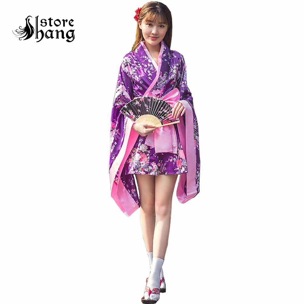 Sexy Japanese Kimono Women Floral Maid Yukata Sakura Kimono Robe Traditional Nightgown Sleepwear Elegant Casual Spa Robe Costume