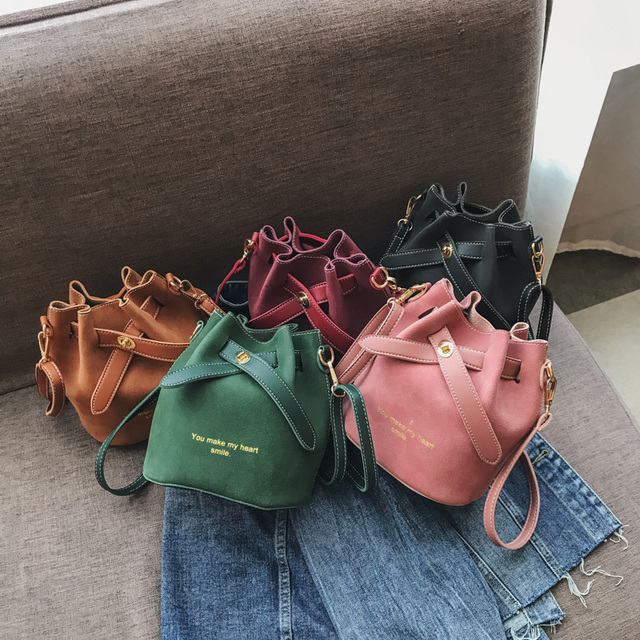 Scrub Two Sets of Composite Bag Female New Fashion High Quality Personality Bucket Bag Casual Wild Shoulder Messenger Bag