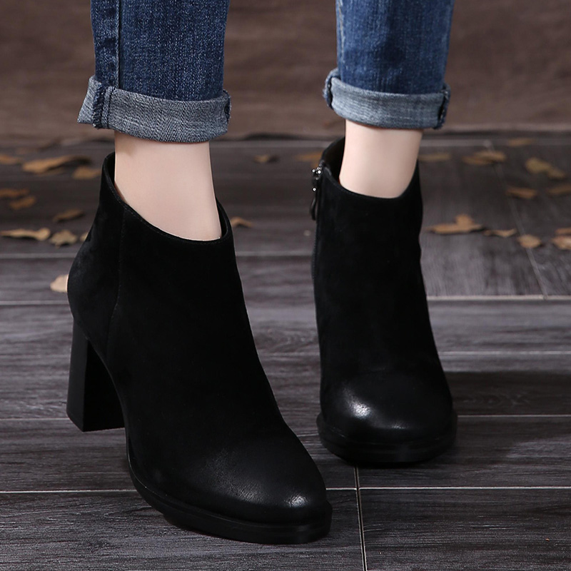 e6051c1c3ed Buy black leather stacked heel boots and get free shipping on AliExpress.com