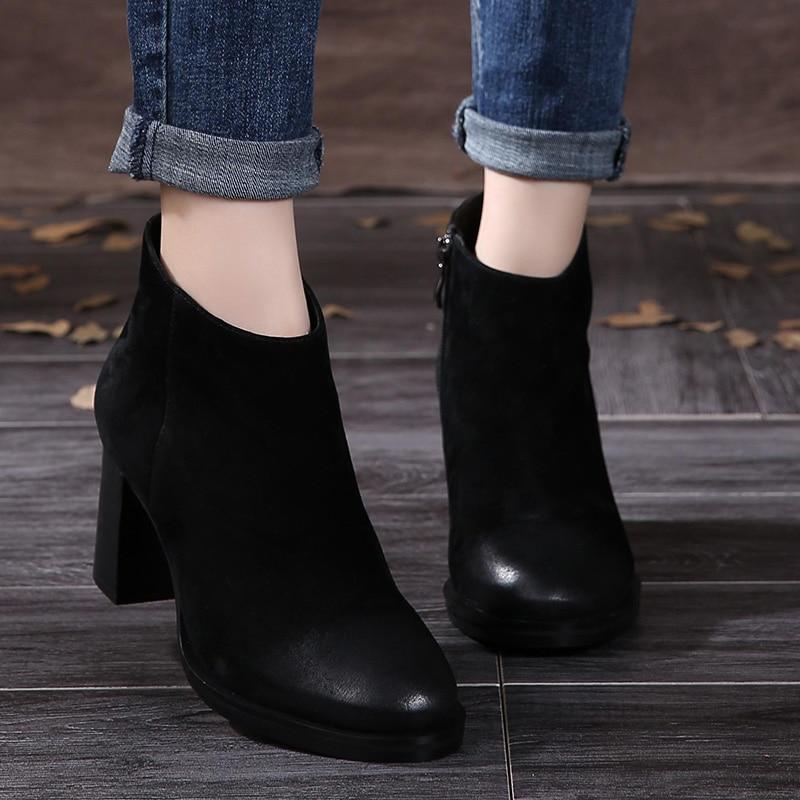 2018 VALLU nouvelle arrivée en daim naturel femmes bottes bouts - Chaussures pour femmes