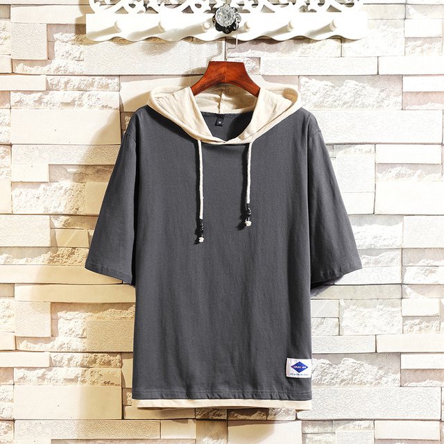 Cotton Half Sleeve T-shirt Men Large Size Solid Color Summer Hooded T-Shirt Male Slim Fit Casual Comfortable Streetwear T shirt 10