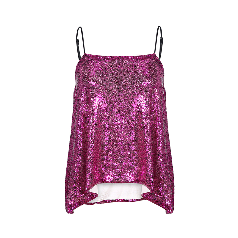 e98898a03f US $15.59 34% OFF|HDY Haoduoyi Glitter Mermaid Sequin Sleeveless Tank  Spaghetti Straps Party Sexy Loose Solid Shiny Short Tops For Women -in  Camis ...