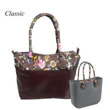 New  flower printed insert inner zip pocket canvas plus handles companition for Classic Obag O bag women's handbags