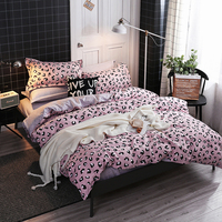 Pink Leopard Bedding Sets Kids Adults Duvet Cover Bed Sheet Pillowcase Twin Full Queen King quilt cover Set Luxury bedclothes