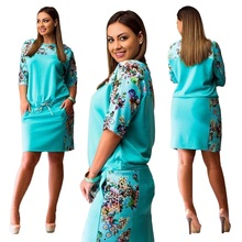 Women Dresses Summer 2017 Floral Half Sleeve Casual Slim Evening Party Dress Plus Size 6XL