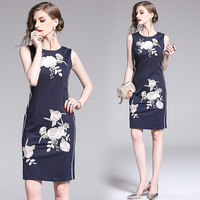 womens woman ladies Designer summer sleeveless embroidery Embroidered Floral flower party Casual office work wear dress clothes