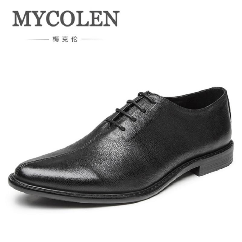 MYCOLEN Brand Leather Men Shoes Casual Brown Pointed Toe Men Oxford High Quality Soft Leather Oxford Shoes For Men Sapatos oxford borboniqua oxford