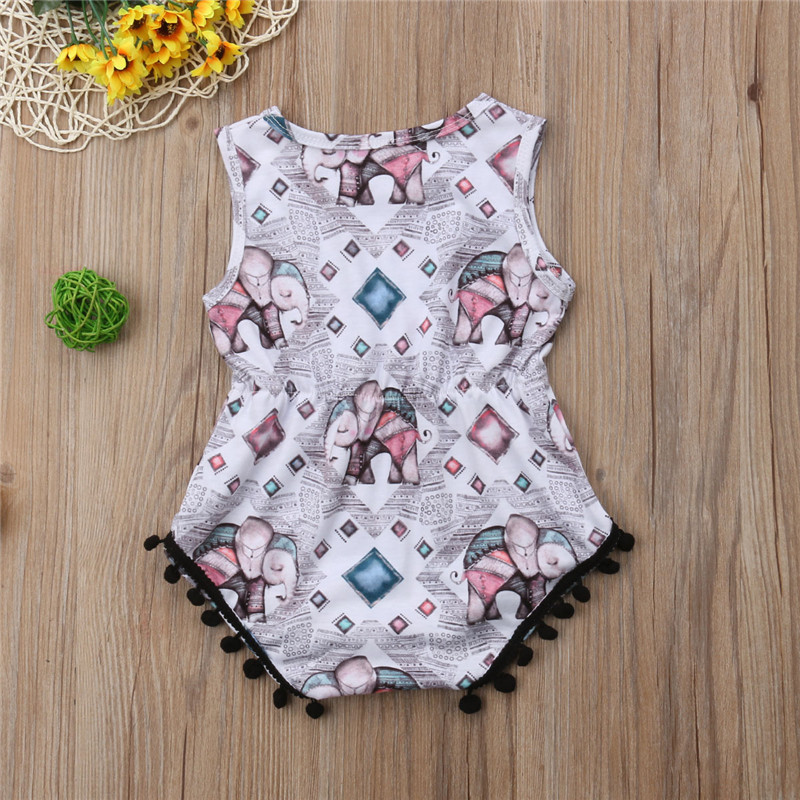 892d50052c38 Newborn Baby Girl Animal Elephant Print Romper Sleeveless Jumpsuit New Born  Baby Clothes Summer Cotton Tassel Ball Romper 0 18M-in Rompers from Mother  ...