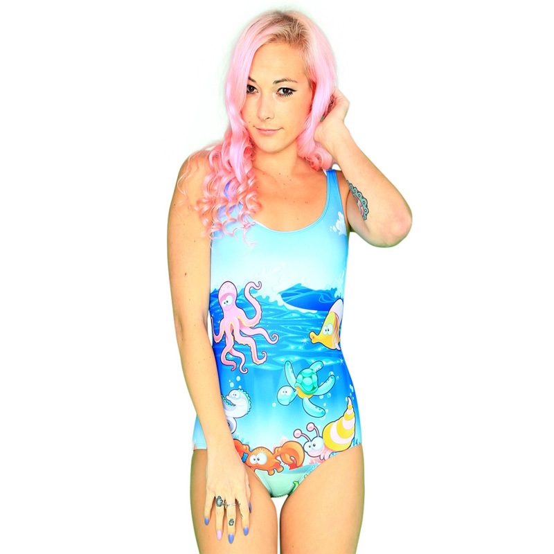 NEW 1164 Sexy Girl Summer Sea World Finding Nemo 3D Prints One Piece Suit Sleeveless Swimsuit Swimwear Women Bathing Suit Plus
