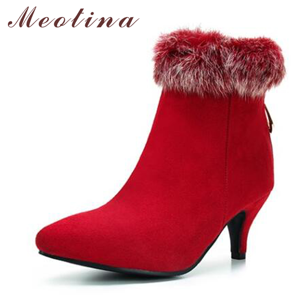 a0256fc69436 Meotina Winter Ankle Boots Women Real Rabbit Fur High Heel Boots Zipper  Pointed Toe Ladies Autumn Shoes Red Black Big Size 12 46