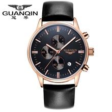Relojes de Los Hombres GUANQIN Marca Negocios Multifunción Cronógrafo Luminoso de Cuero correas de Reloj Grande Del Dial de Reloj de Cuarzo Relogio masculino