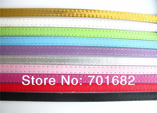 Wholesale mix color 8mm wide 1meter length 10strips Copy Leather Belt DIY Accessories can through 8mm slide letters or charms