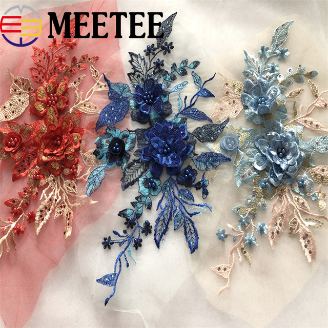 1Pc 3D Flowers Sequins Bead Lace Applique Mesh Embroideried Rhinestone Lace  Trims Fabric For Wedding Dress 9f806a37f484