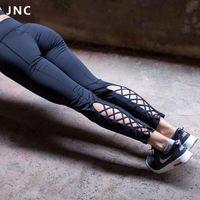 JNC Bayan Yoga Pantolon Aktif Koşu Egzersiz Spor Tayt Dans Pantolon Kesme Kravat Manşet Ince Jogger Egzersiz Tayt