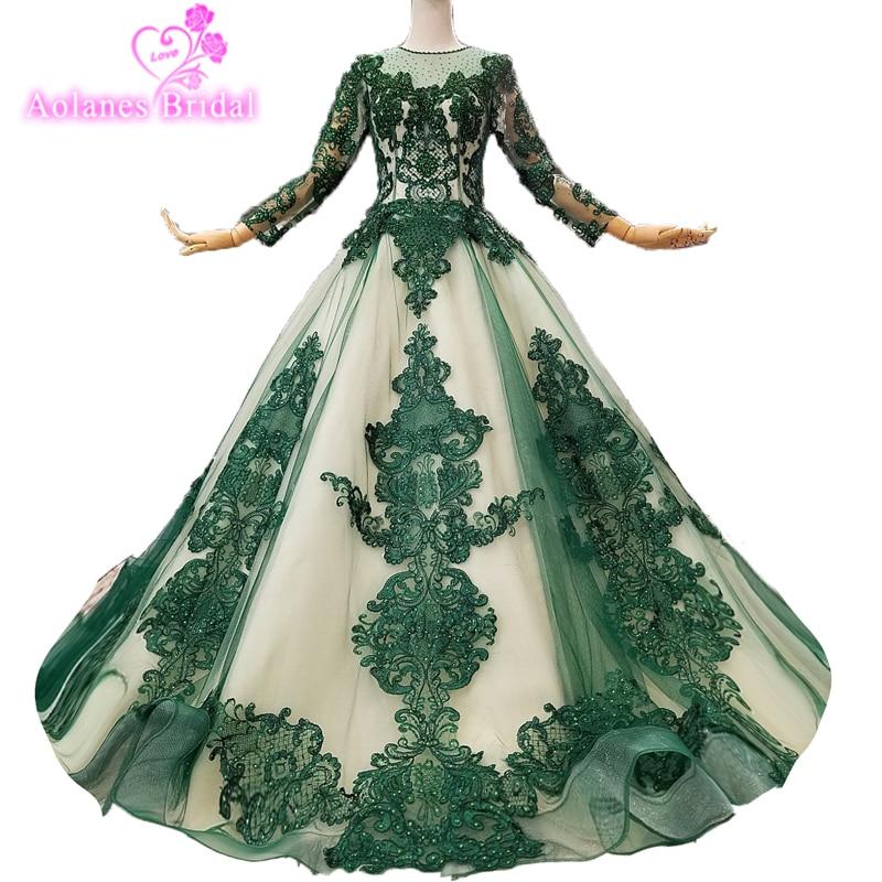 2019 New Design Prom Dresses Abendkleider Luxurious Lace Gillter Prom Gown Dark Green Formal Dress Abiye Gece Elbisesi Gowns