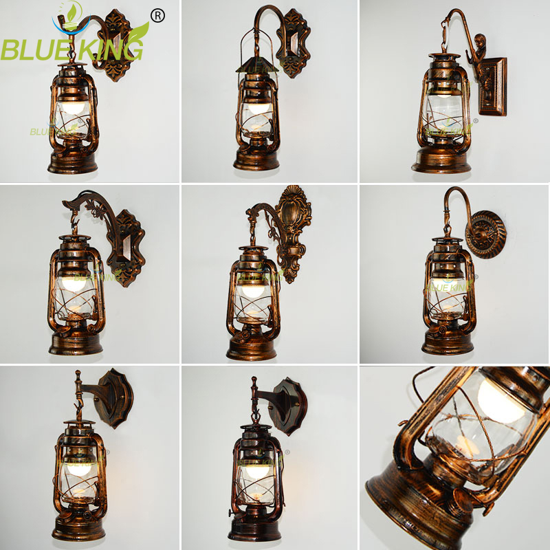 9 types Retro  Vintage Kerosene wall lamp bedroom bedside wall sconce Wrought Iron glass restaurant bar aisle light fixture