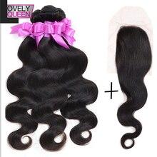 7A Brazilian Virgin Body Wave Hair 3 Bundles With Closure, Grace Hair Products With Lace Closure 100% Virgin Brazilian Hair #1B