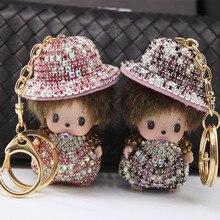 ฉลาดหมวกฟางมอนชิชิพวงกุญแจใหม่สร้างสรรค์โบว์M Onchichiรถพวงกุญแจจี้ผู้หญิงกระเป๋าRhinestoneอุปกรณ์โซ่