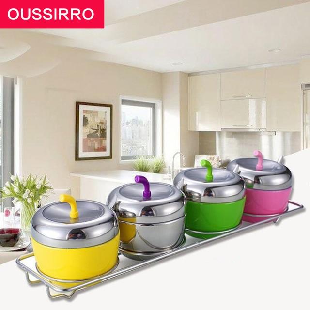 4 pz set colorato cucina forniture barattolo di spezie in ceramica ...