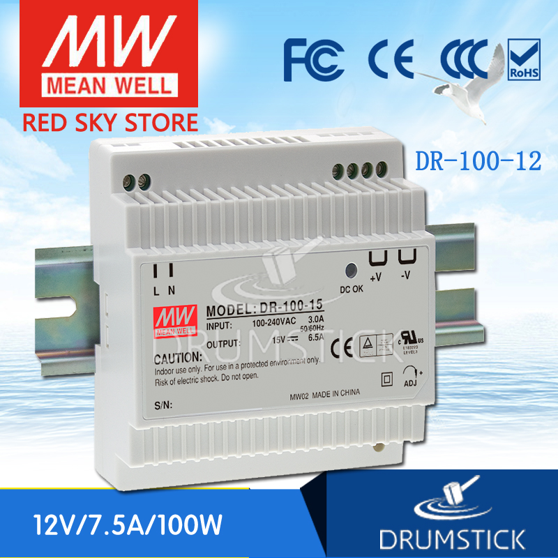 Only 11.11) MEAN WELL DR-100-12 12V 7.5A meanwell DR-100 90W Single Output Industrial DIN Rail Power Supply [Hot1] [sumger2] mean well original dr 100 15 15v 6 5a meanwell dr 100 15v 97 5w single output industrial din rail power supply