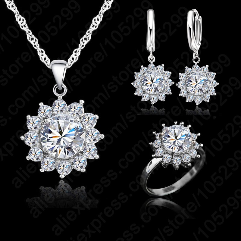 New Hot Fashion SunFlower Women Cubic Zirconia 925 Sterling Silver Pendant Necklaces Earrings Rings Sets For Wedding Jewelry(China)