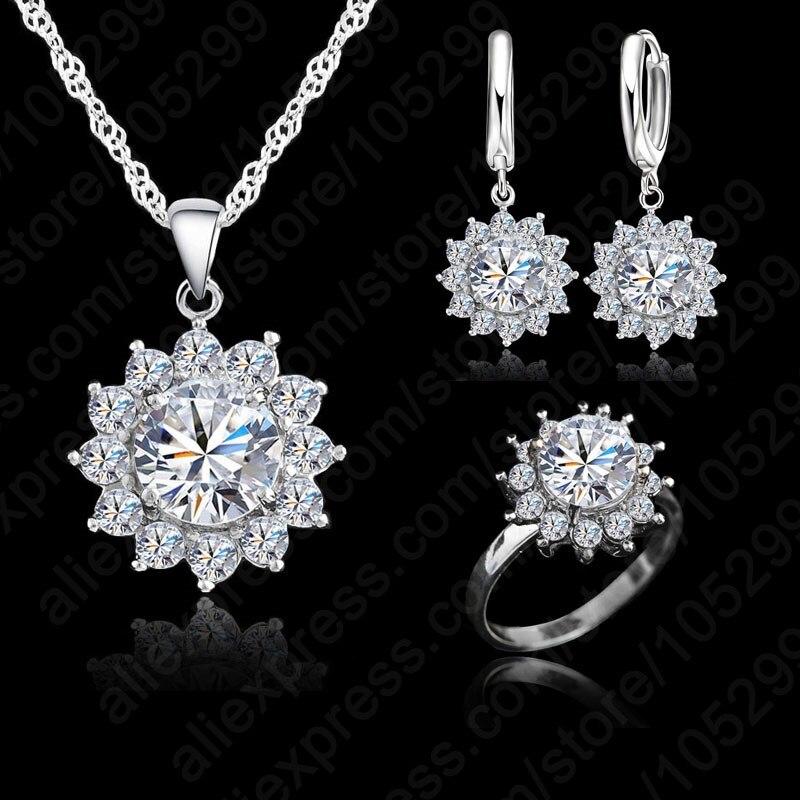 Nouveau chaud mode tournesol femmes zircon cubique 925 en argent Sterling pendentif colliers boucles d'oreilles anneaux ensembles pour bijoux de mariage