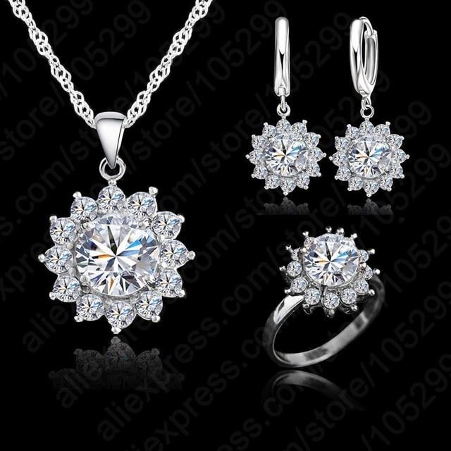 חדש חם אופנה חמניות נשים מעוקב Zirconia 925 כסף סטרלינג תליון שרשראות עגילי טבעות סטי תכשיטי חתונה
