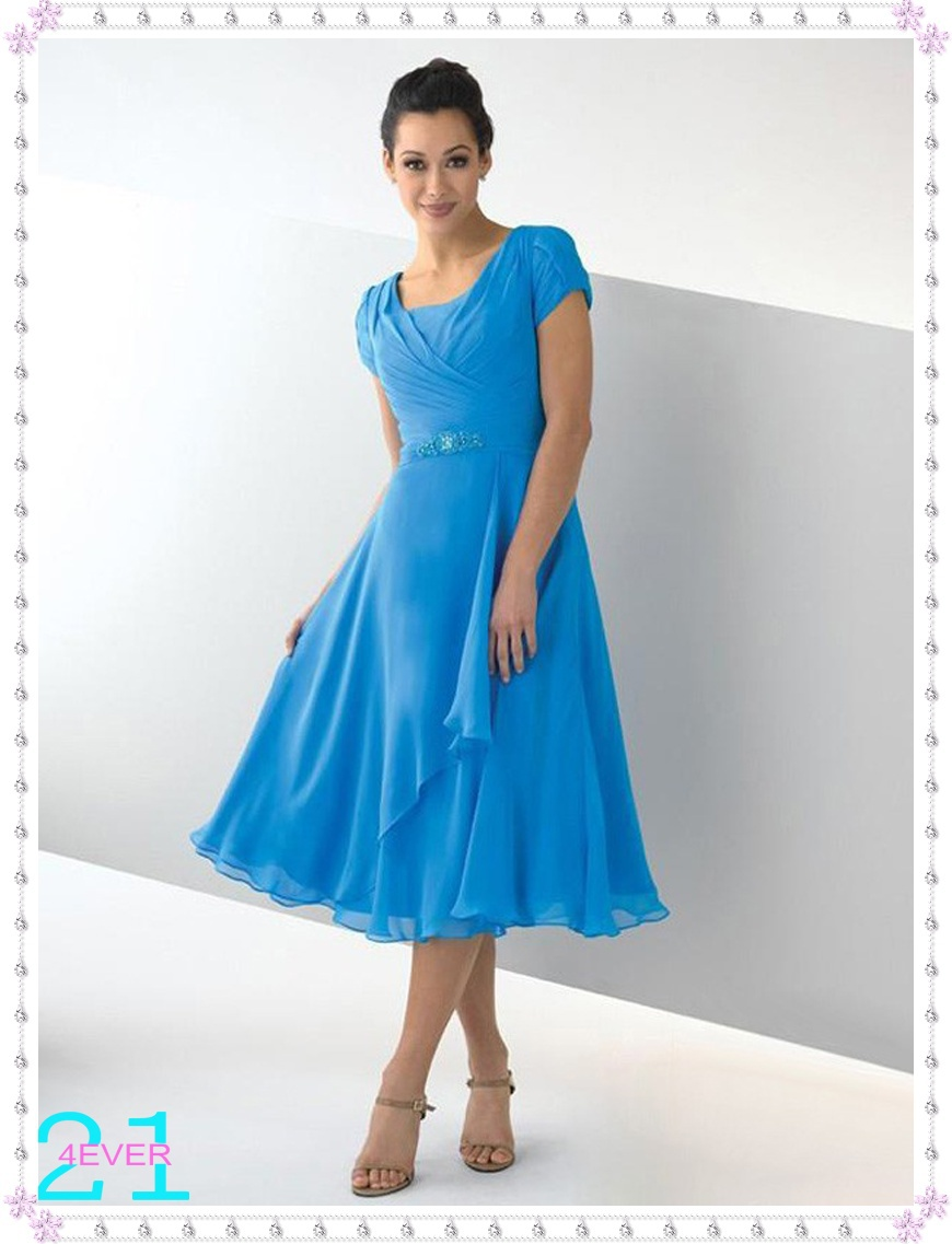 Modest Scoop A Line Ruched Beaded Tea Length Affordable Blue Chiffon Bridesmaid Dresses Bd 10089 In From Weddings Events On