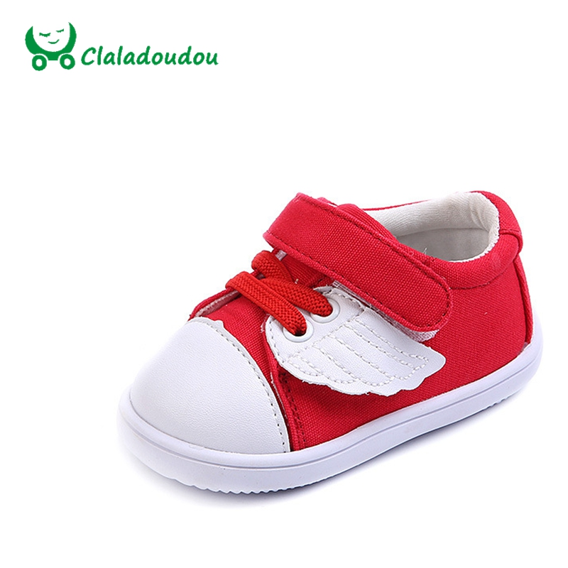 Claladoudou 11-13CM Toddler Boys Flat Blue Baby Girl Cute Cartoon Red First Walkers Children Brand Casual Shoes For 0-2Y