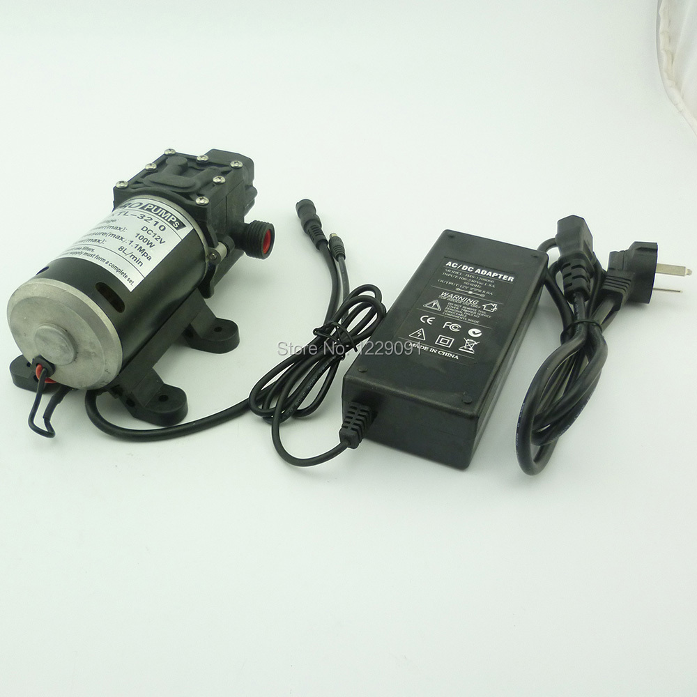 100W Automatic pressure switch DC Diaphragm small Water Pump 12v high pressure 8L/min with G1/2 port and 12v 8A power adaptor