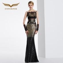 Coniefox 31630 negro atractivo de la sirena sin mangas de baile vestidos de las señoras de lujo de noche vestido de fiesta de navidad vestido de robe de soirée