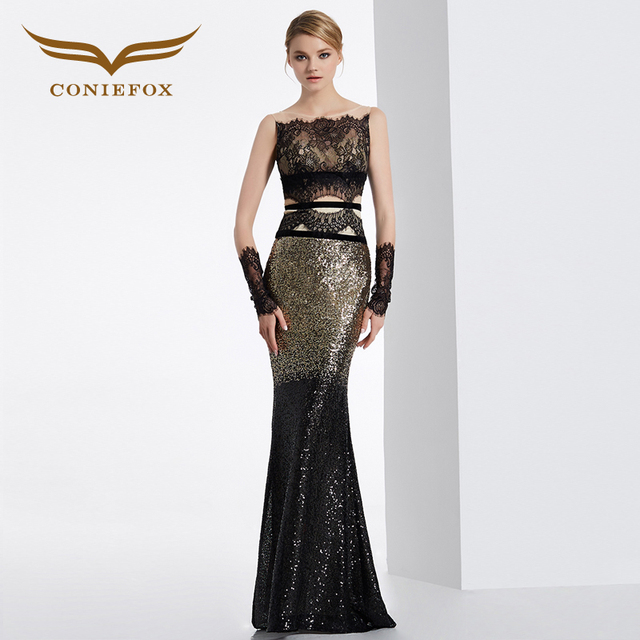 CONIEFOX 31630 black mermaid sexy sleeveless prom dresses Ladies luxury evening party dress gown Xmas dress robe de soiree