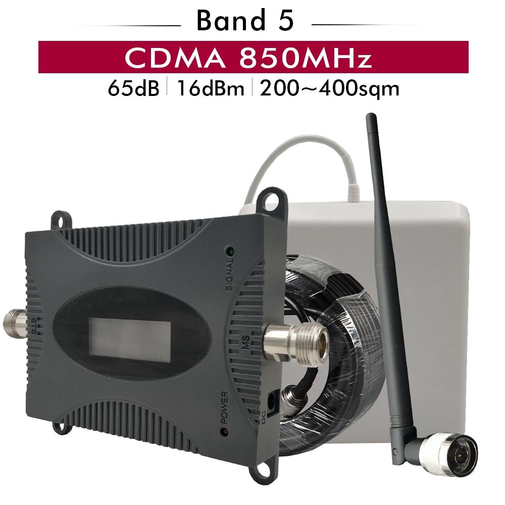 65dB Gain affichage Lcd CDMA 850 Booster de Signal LTE bande 5 CDMA 850 mhz répéteur de Signal de téléphone portable amplificateur cellulaire ensemble d'antenne