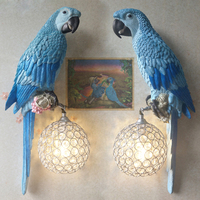 LED Handmade Blue / Yellow Resin Parrot Crystal Wall Sconce, Animated Animal Parrots Wall Lamps for Living Room Home Decor