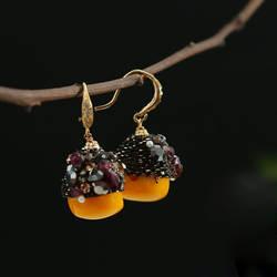 Amxiu ручной работы натуральные полудрагоценные камни серьги 925 пробы серебряные ювелирные изделия драгоценные Висячие серьги для женщин