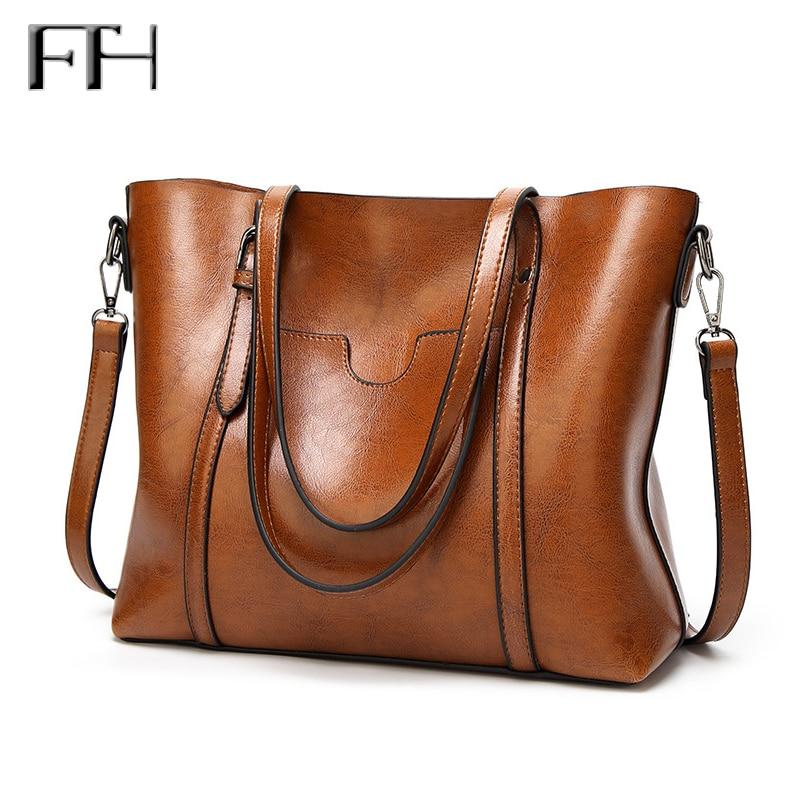 Retro Famous Designer Women leather big tote Handbag lady vintage classic shoulder Bags female casual practical