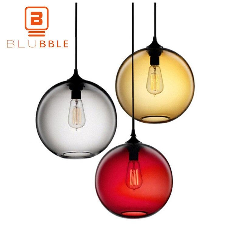 BLUBBLE Loft Glass Lucky Ball Colorful Pendant Lights Lampshade Dia20cm/25cm/30cm Hanging Lamp E27 Anna Love Festival Christmas