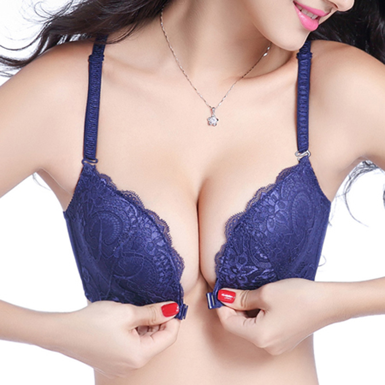 Intimates Bras For Women Sexy Underwear Super Push Up Front Closure Bra Lace Front Bras For Women Push Up Bralette 19