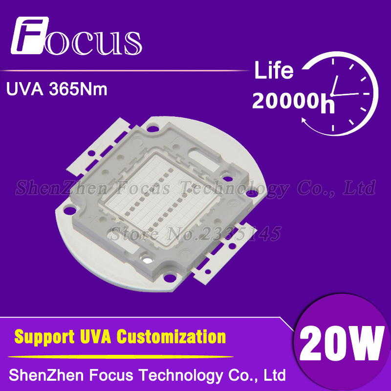 High Power LED Chip 20W UV 360-365nm 20 Watt UVA Purple COB Light Beads For polymer ink printing and banknote inspectio high power led chip 20w uv 360 365nm 20 watt uva purple cob light beads for polymer ink printing and banknote inspectio