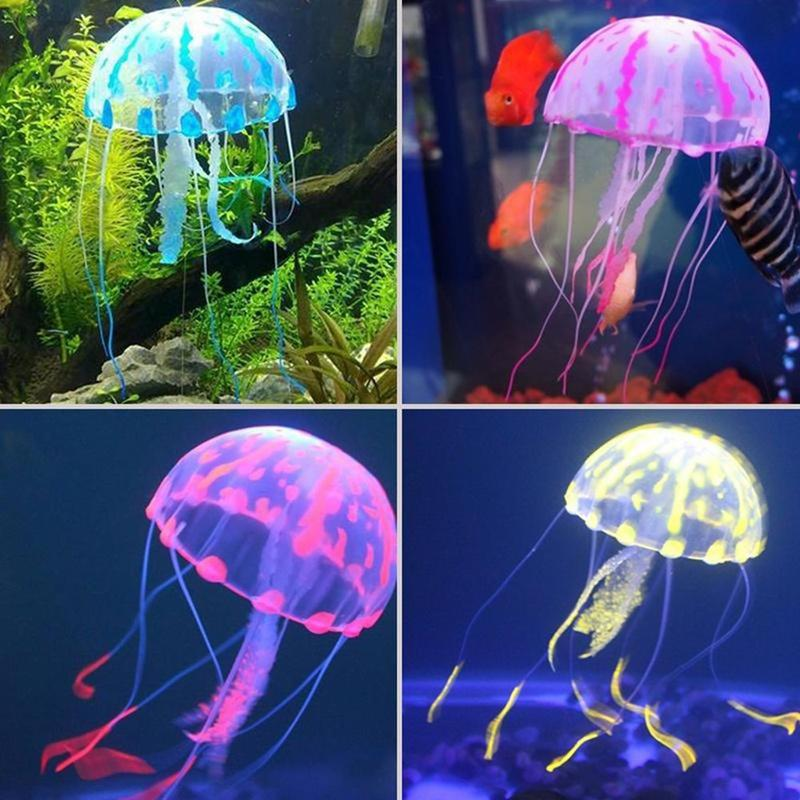 1 PC Vivid Fish Tank Ornament Artificial Jellyfish Silicone Glowing Effect Pet